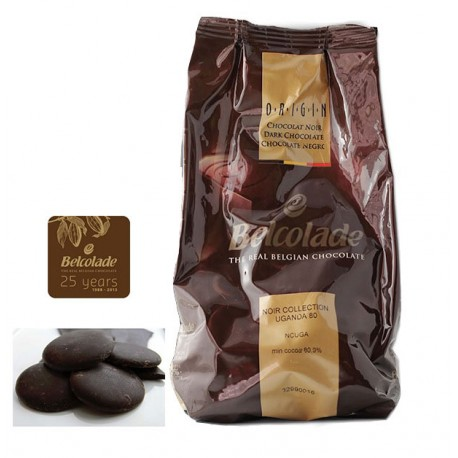 Čokoláda Belcolade single origin 80% Uganda penízky 1kg