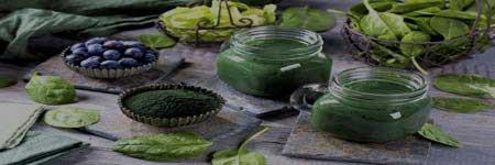 Zelené potraviny a šťávy